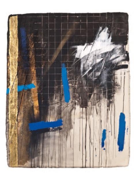 """Adam Brincken, """"GRY przed i po WENECKIE IV"""", 2013, płótno, akryl, złoto, 142 x 116 x 6 cm, fot. Archiwum Autora (źródło: materiały prasowe organizatora)"""