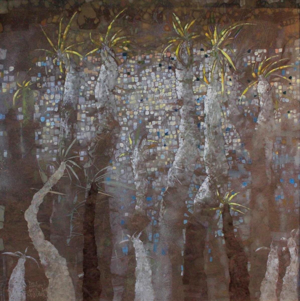 """Artur Kardamasz, """"Białe kaktusy"""", 2008, akryl / płótno, 100 x 100 cm (źródło: materiały prasowe organizatora)"""
