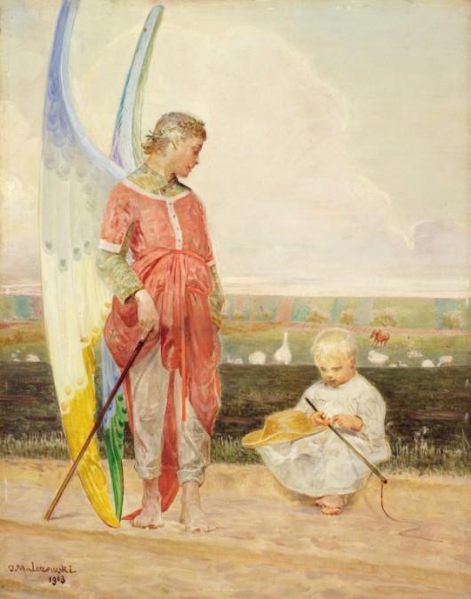 """Jacek Malczewski, """"Anioł i pastuszek"""", 1903 (źródło: materiały prasowe organizatora)"""