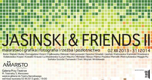 """""""Jasiński&friends"""" Amaristo Galeria Przy Teatrze w Warszawie, plakat (źródło: materiały prasowe)"""
