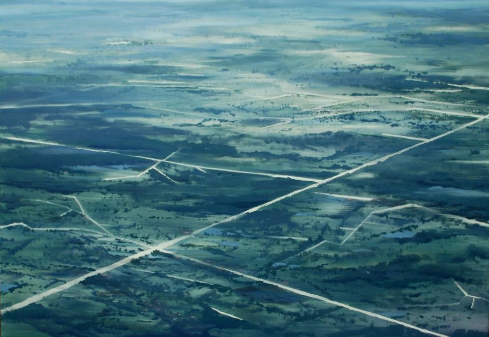 """Juliusz Kosin (ASP Kraków), """"Narośl po horyzont ludzka II"""", olej na płótnie, 160 x 110 cm, 2013, Grand Prix (źródło: materiały prasowe organizatora)"""
