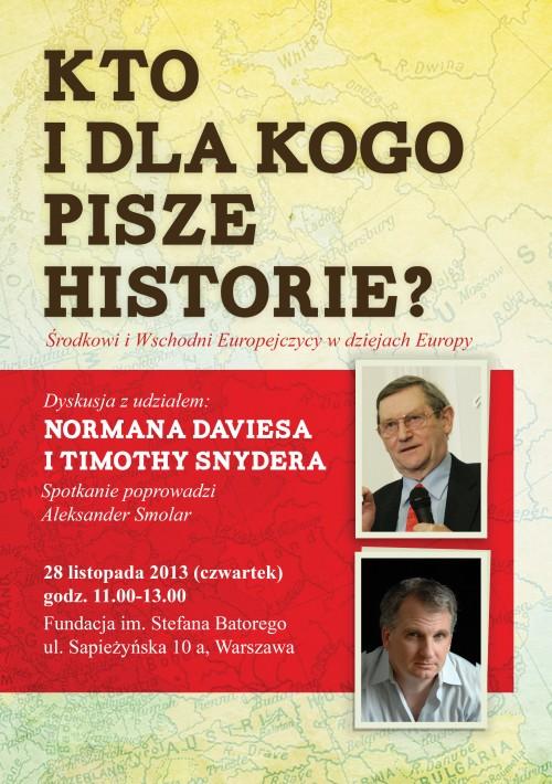 """""""Kto i dla kogo pisze historie? Środkowi i Wschodni Europejczycy w dziejach Europy"""" – plakat (źródło: materiały prasowe)"""