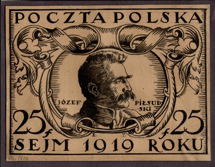 Projekt znaczka pocztowego z wizerunkiem Józefa Piłsudskiego, Muzeum Poczty i Telekomunikacji we Wrocławiu (źródło: materiały prasowe muzeum)