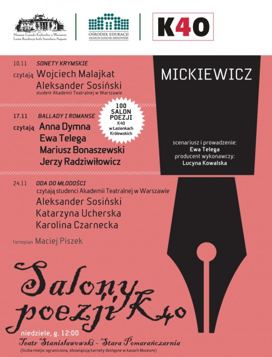 Salony Poezji – Adam Mickiewicz – plakat (źródło: materiały prasowe)