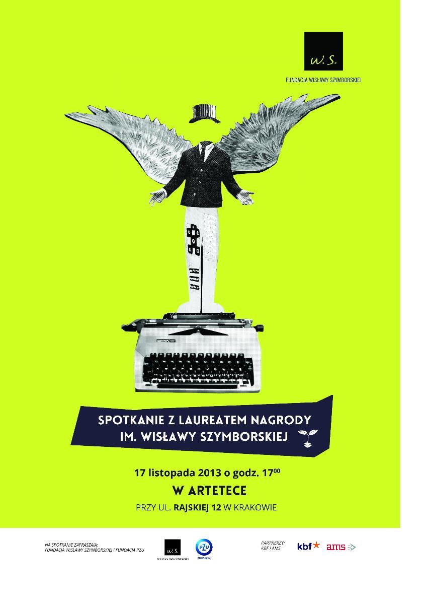 Spotkanie z laureatem Nagrody im. Wisławy Szymborskiej – plakat (źródło: materiały prasowe)