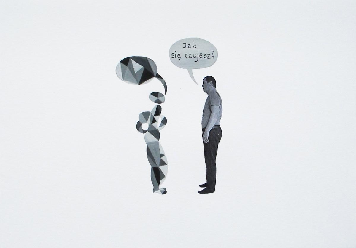 """Małgorzata Malwina Niespodziewana, """"Komiks Białe Haribo"""", 2011-2012, tempera, collage, 21x29 cm, własność artystki (źródło: materiały prasowe organizatora)"""