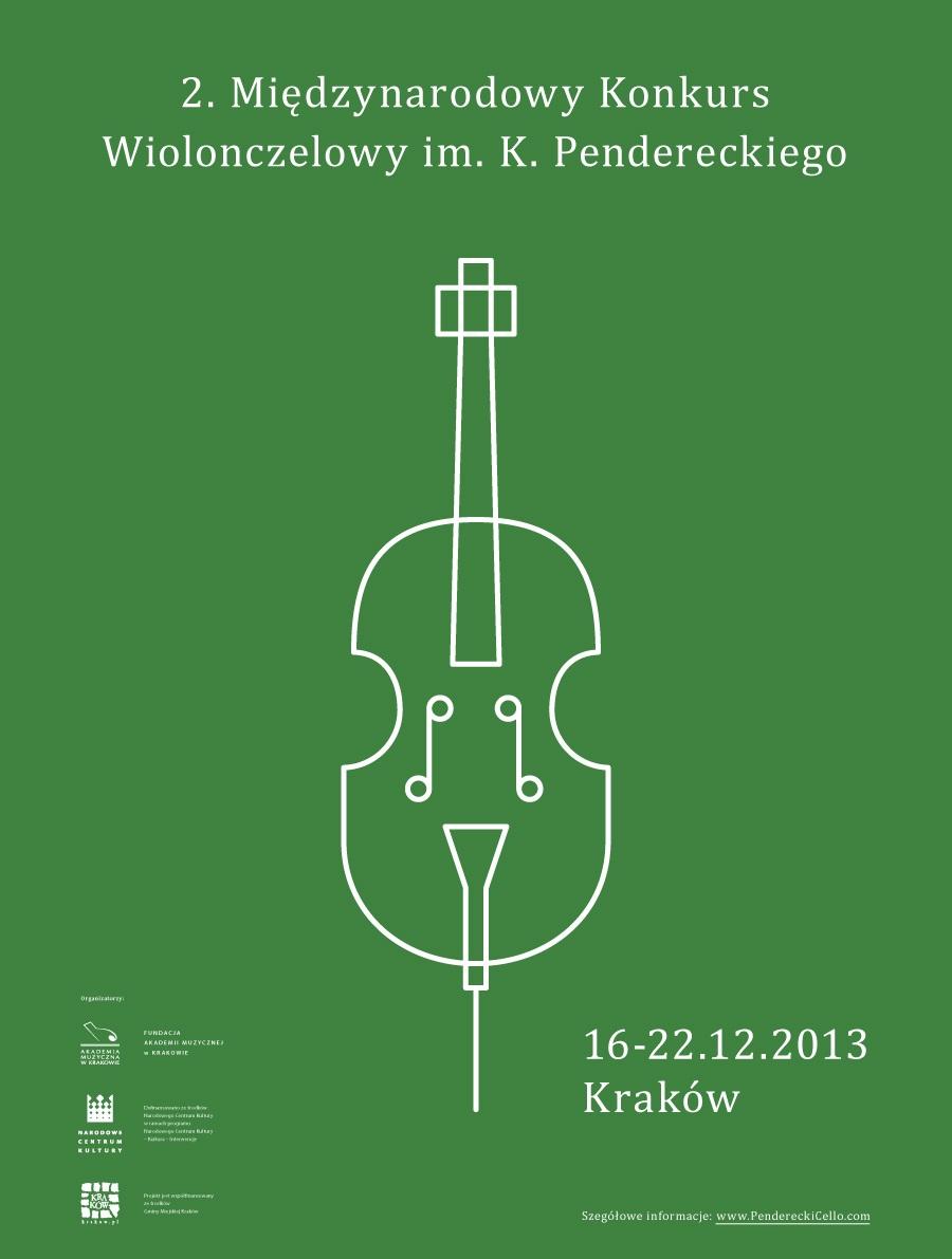 2. Międzynarodowy Konkurs Wiolonczelowy im. K. Pendereckiego, plakat (źródło: mat. prasowe)