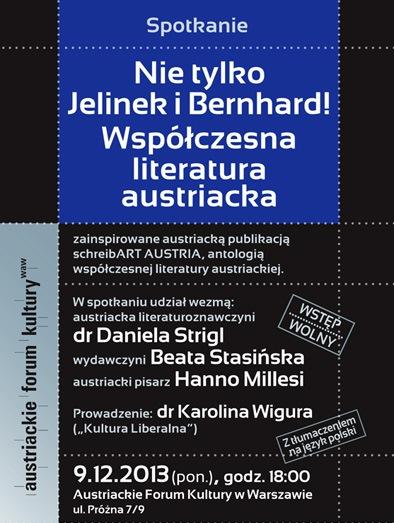 """""""Nie tylko Jelinek i Bernhard"""" – plakat (źródło: materiały prasowe)"""