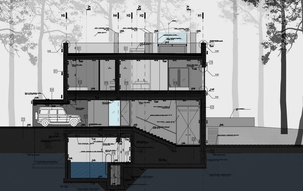 Dom nad morzem, proj. Ultra Architects, przekrój (źródło: materiały prasowe biura)
