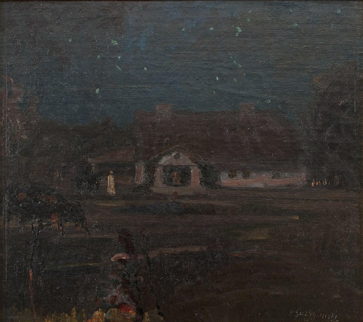 """Henryk Szczygliński, """"Nokturn (Z minionych dni)"""" z 1910 roku, olej na tekturze, 33x36 cm (źródło: materiały prasowe organizatora)"""