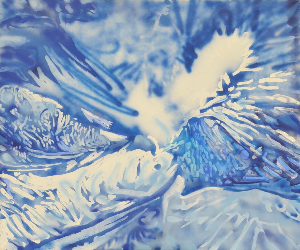 """Narcyz Piórecki, """"Irys"""", 2013 – akryl / płótno (139 x 170 cm) (źródło: materiały prasowe organizatora)"""