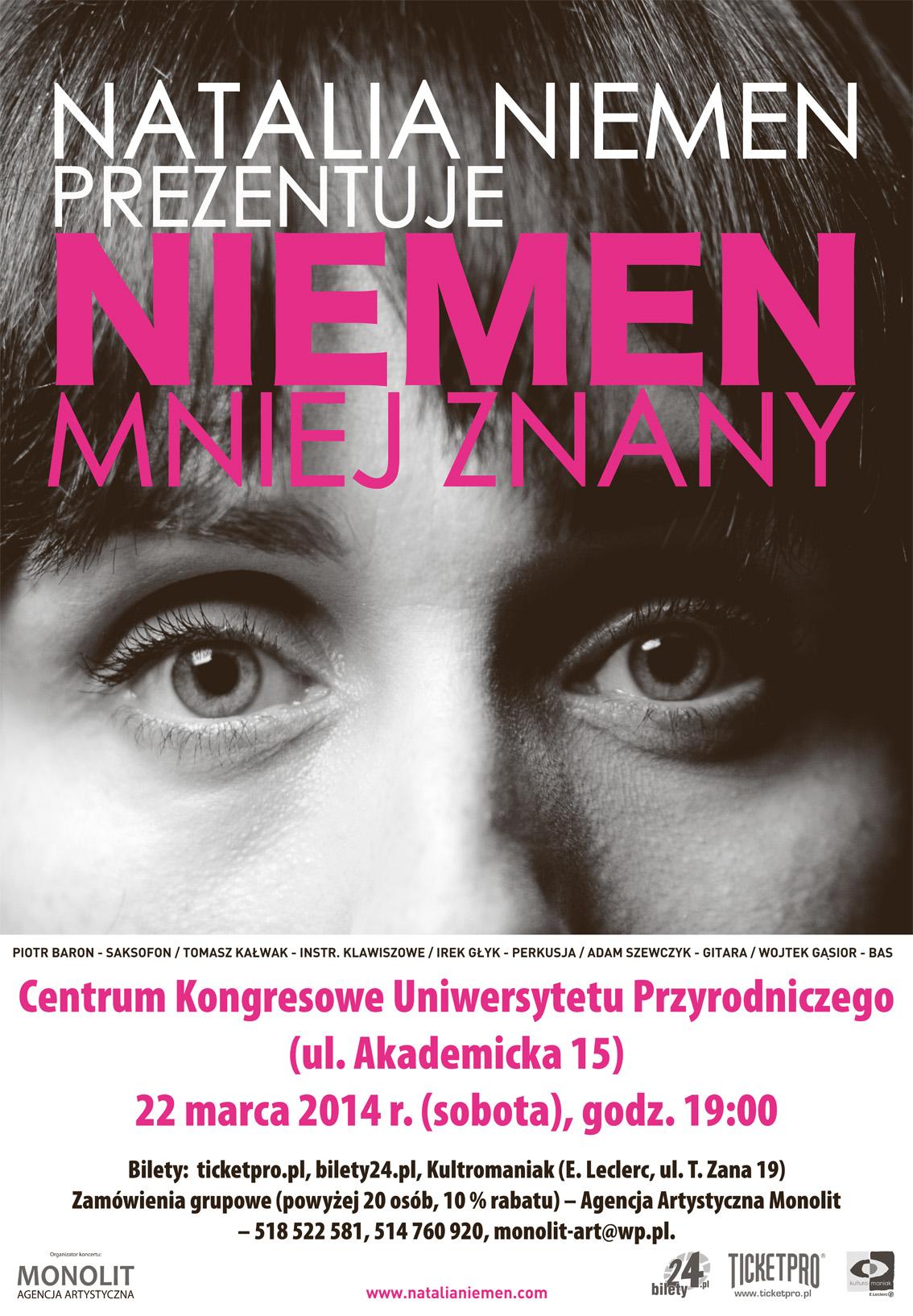 Niemen mniej znany, koncert Natalii Niemen, plakat (źródło: materiały prasowe)