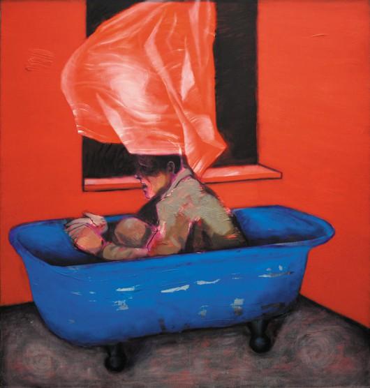 """Paweł Kwiatkowski, """"Protagonista VIII"""", 2013, olej na płótnie, 150x142cm, fot. Paweł Kwiatkowski (źródło: materiały prasowe organizatora)"""