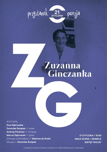 Przystanek poezja. Zuzanna Ginczanka, plakat (źródło: materiały prasowe)