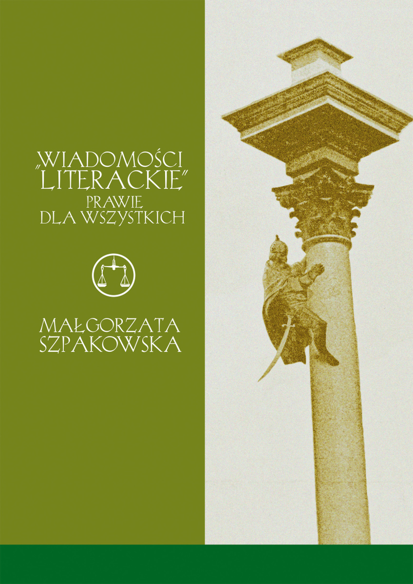 """M. Szpakowska, """"Wiadomości Literackie"""" prawie dla wszystkich – okładka (źródło: materiały prasowe)"""