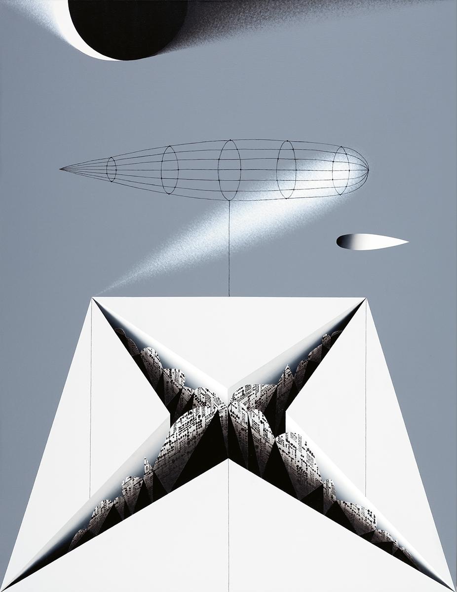 """Adam Wsiołowski, """"Miasto nieznane IV"""", 2012, 53,5x41,5 cm, grafika (źródło: materiały prasowe organizatora)"""