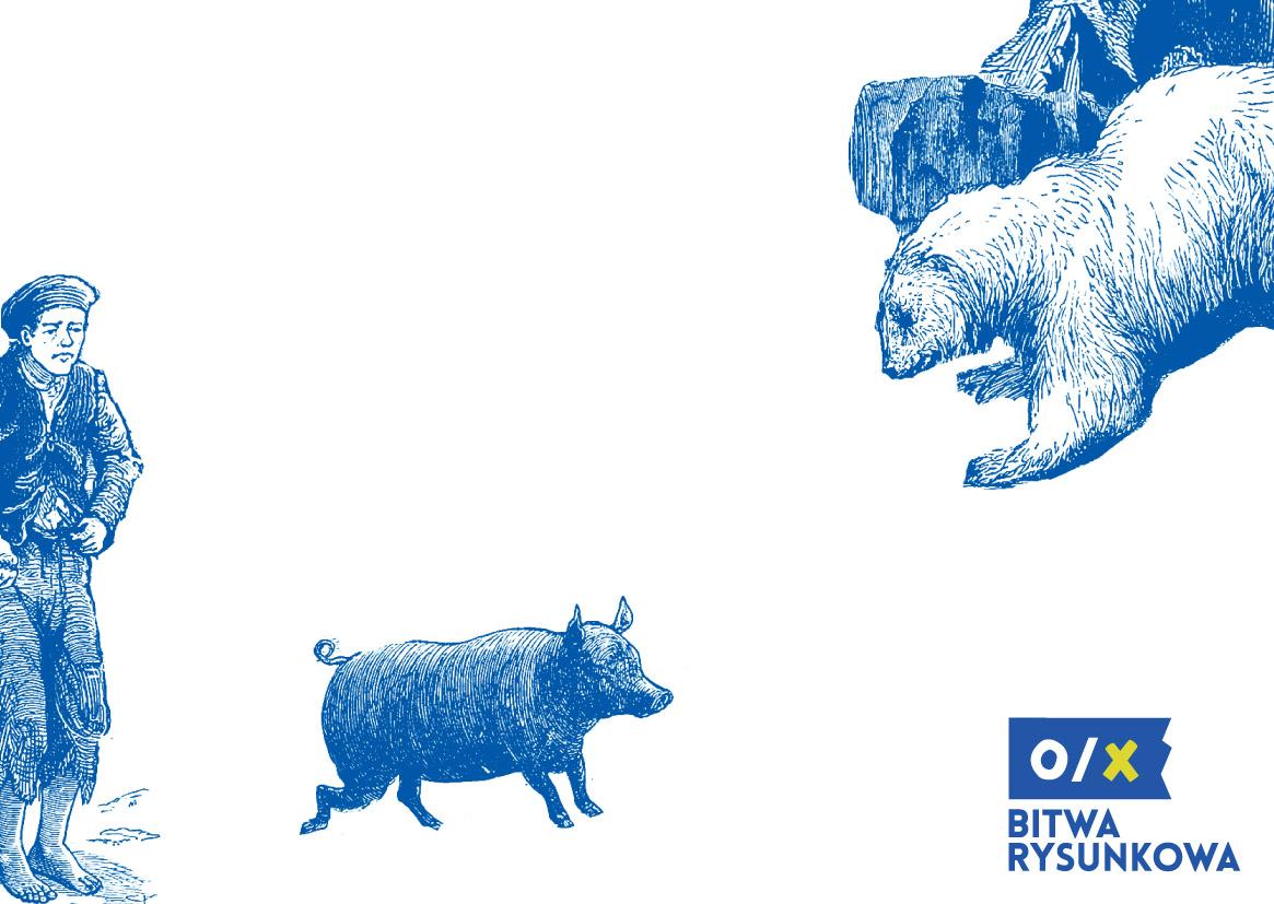 Bitwa rysunkowa, Pocztówka z wieśniakiem, świnią i niedźwiedziem (źródło: materiały prasowe organizatora)