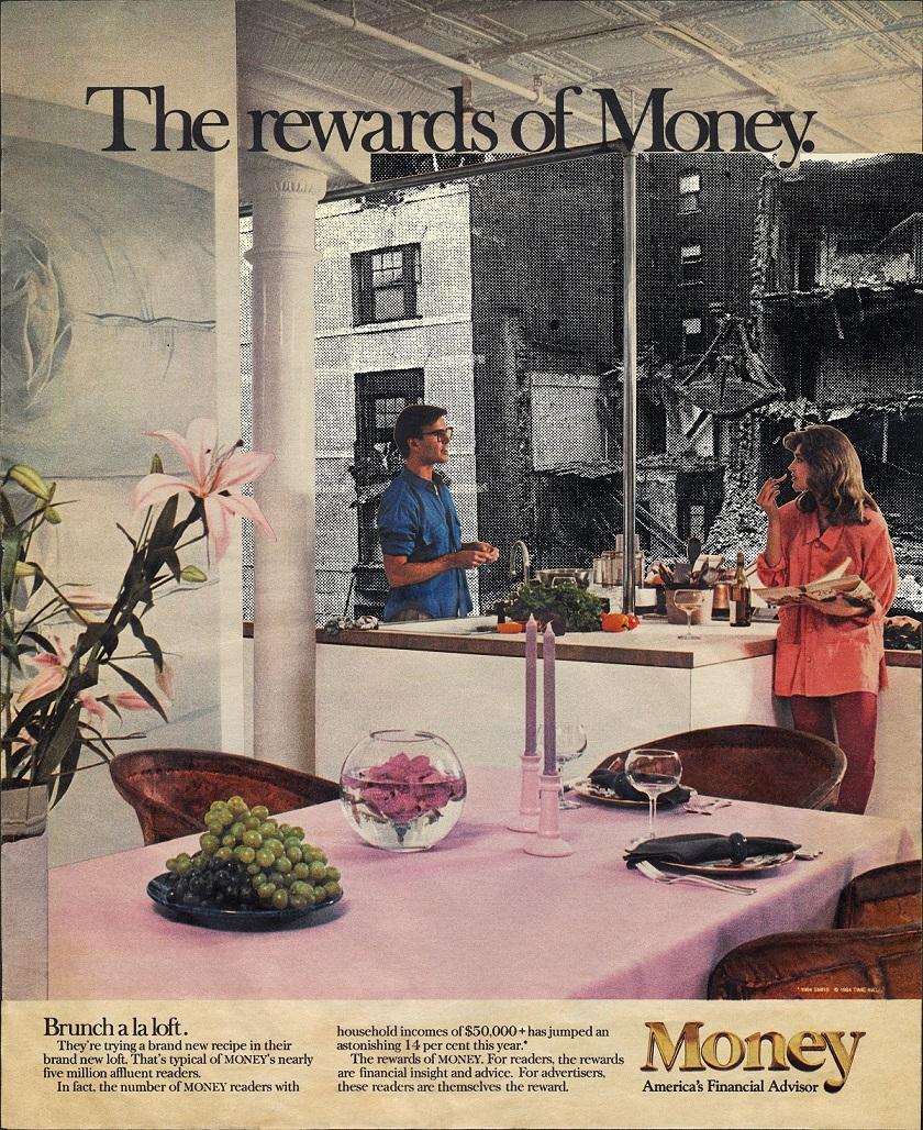 """Martha Rosler """"Brunch à la loft"""", 1987-1988 z cyklu """"The Rewards of Money"""" dzięki uprzejmości artystki i Galerie Nagel Draxler, Berlin/Cologne"""