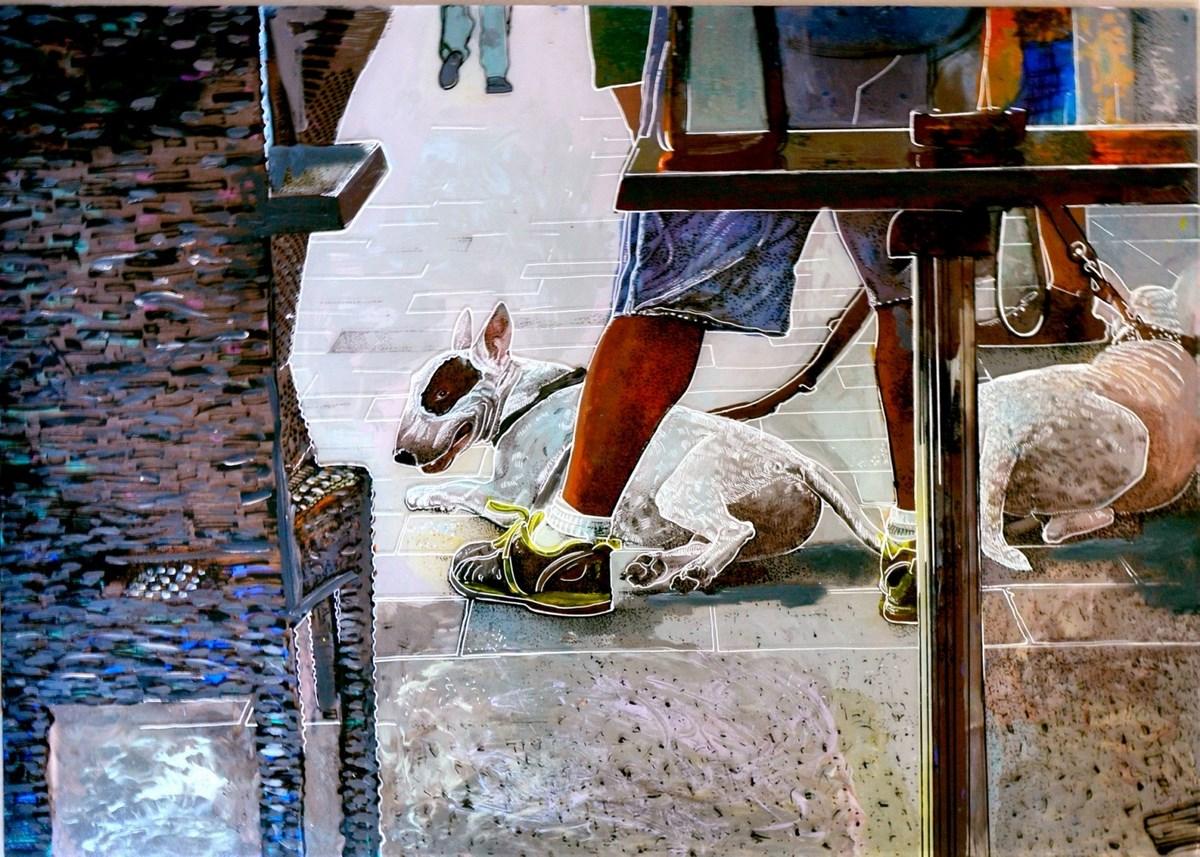 """Helena Jacyno, """"Bul Bul x2 terier"""", 2013 – technika własna / szkło (70 x 82 cm) (źódło: materiały prasowe organizatora)"""
