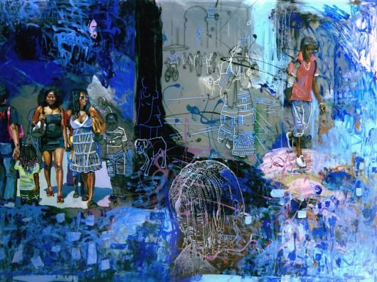 """Helena Jacyno, """"Noc w Lizbonie"""", 2012 – technika własna / szkło (62 x 82 cm) (źódło: materiały prasowe organizatora)"""