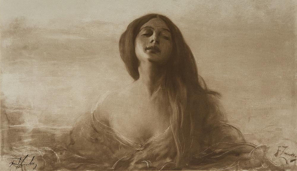 """Jadwiga Golcz, Franciszek Żmurko, """"Studium kobiece"""" (fotografia obrazu sygnowana przez malarza), odbitka fotograficzna na papierze fotograficznym, 1905, MNW (źródło: materiały prasowe organizatora)"""