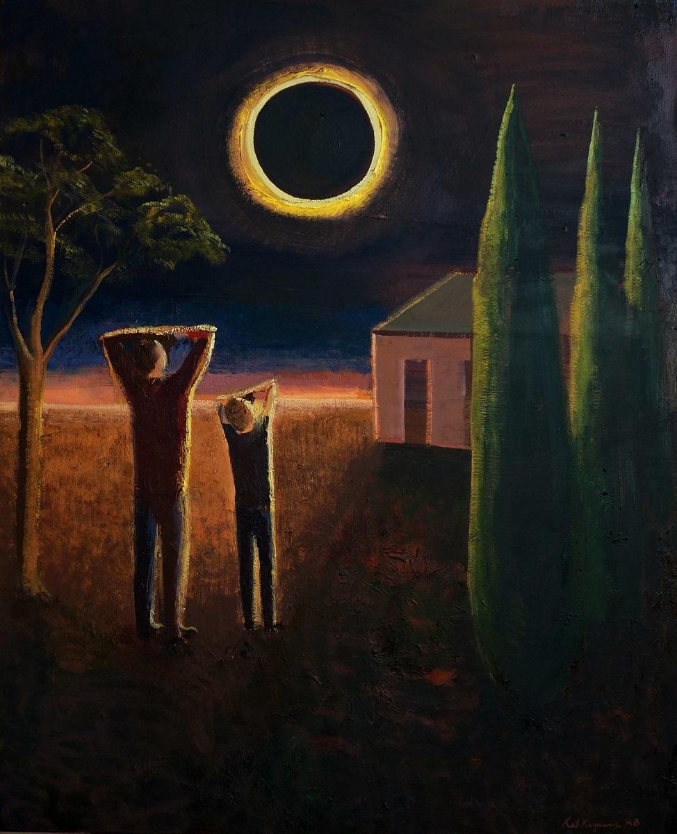 """Katarzyna Karpowicz, """"Całkowite zaćmienie słońca 1999"""", olej na płótnie, 100x80cm, 2014 (źródło: materiały prasowe organiztora)"""