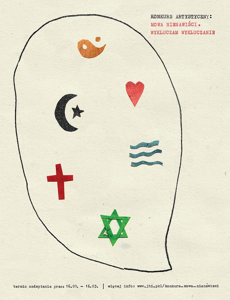 """Konkurs """"Mowa nienawiści"""", Żydowski Instytut Historyczny w Warszawie, plakat (źródło: materiały prasowe organizatora)"""