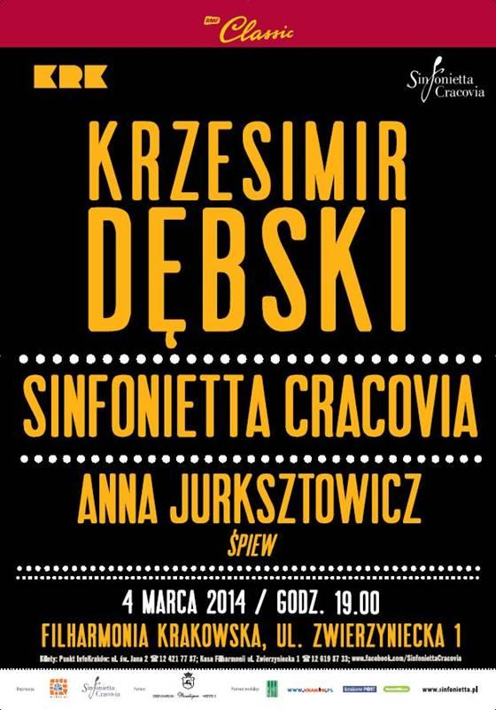 Sinfonietta Cracovia & Krzesimir Dębski, plakat (źródło: mat. prasowe)
