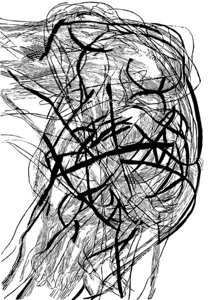 """Marta Bożyk, """"Pina Bausch"""", linoryt, 100 x 70 cm (źródło: materiały prasowe organizatora)"""
