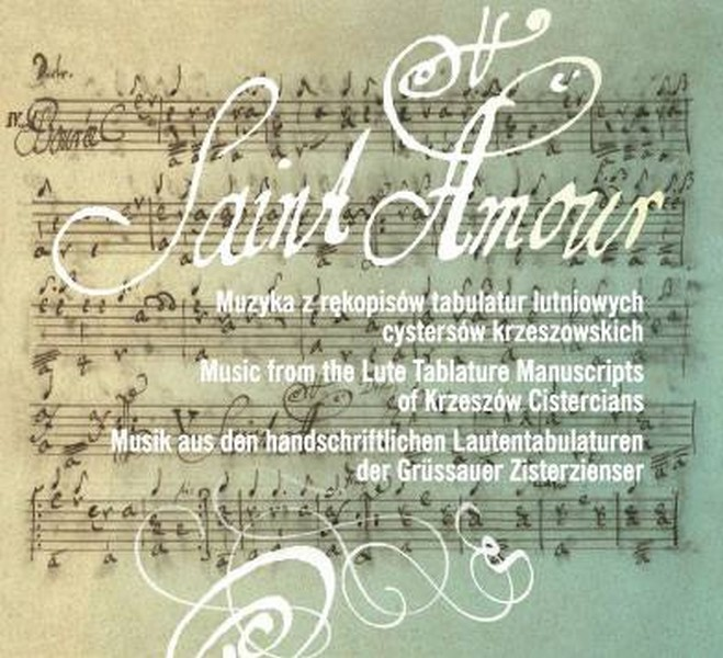 """""""Saint Amour. Muzyka z rękopisów tabulatur lutniowych cystersów krzeszowskich"""", okładka (źródło: materiał prasowy)"""