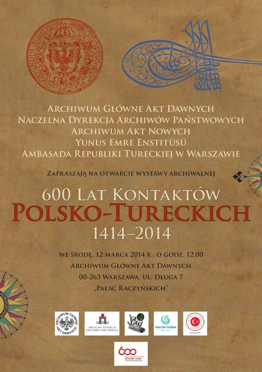 """""""600 lat kontaktów polsko-tureckich 1414–2014"""" – zaproszenie (źródło: materiały prasowe)"""