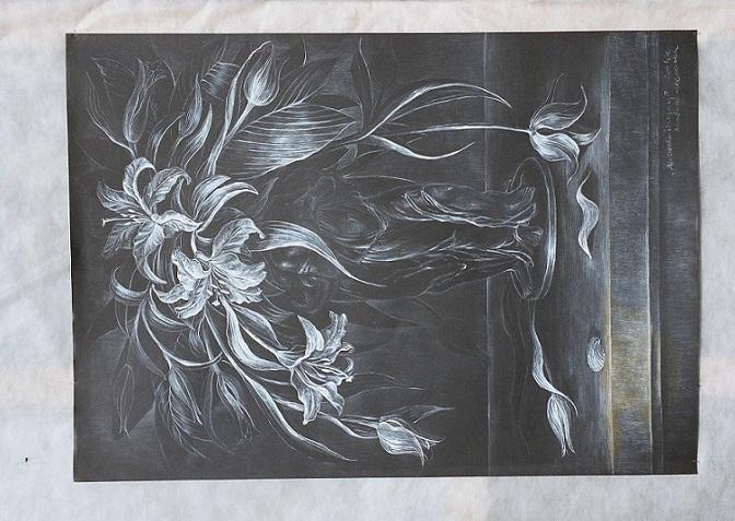 """Agata Woźniak-Niemkiewicz, """"Kwiaty"""", rysunek (źródło: materiały prasowe organizatora)"""