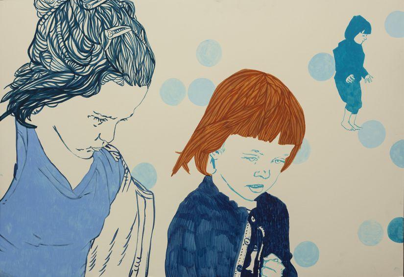 Agnieszka Sandomierz, bez tytułu, 120x80cm, rysunek na kartonie (źródło: materiały prasowe organizatora)