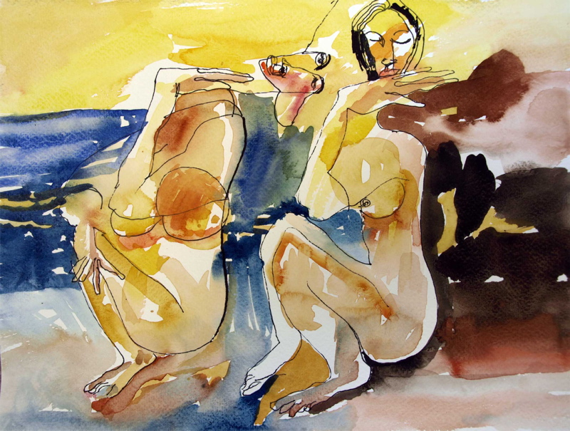 """Jerzy Treit, """"Listy z Grecji"""", 6,20x30 cm, akwarela, tusz, papier, 2013 (źródło: materiały prasowe organizatora)"""