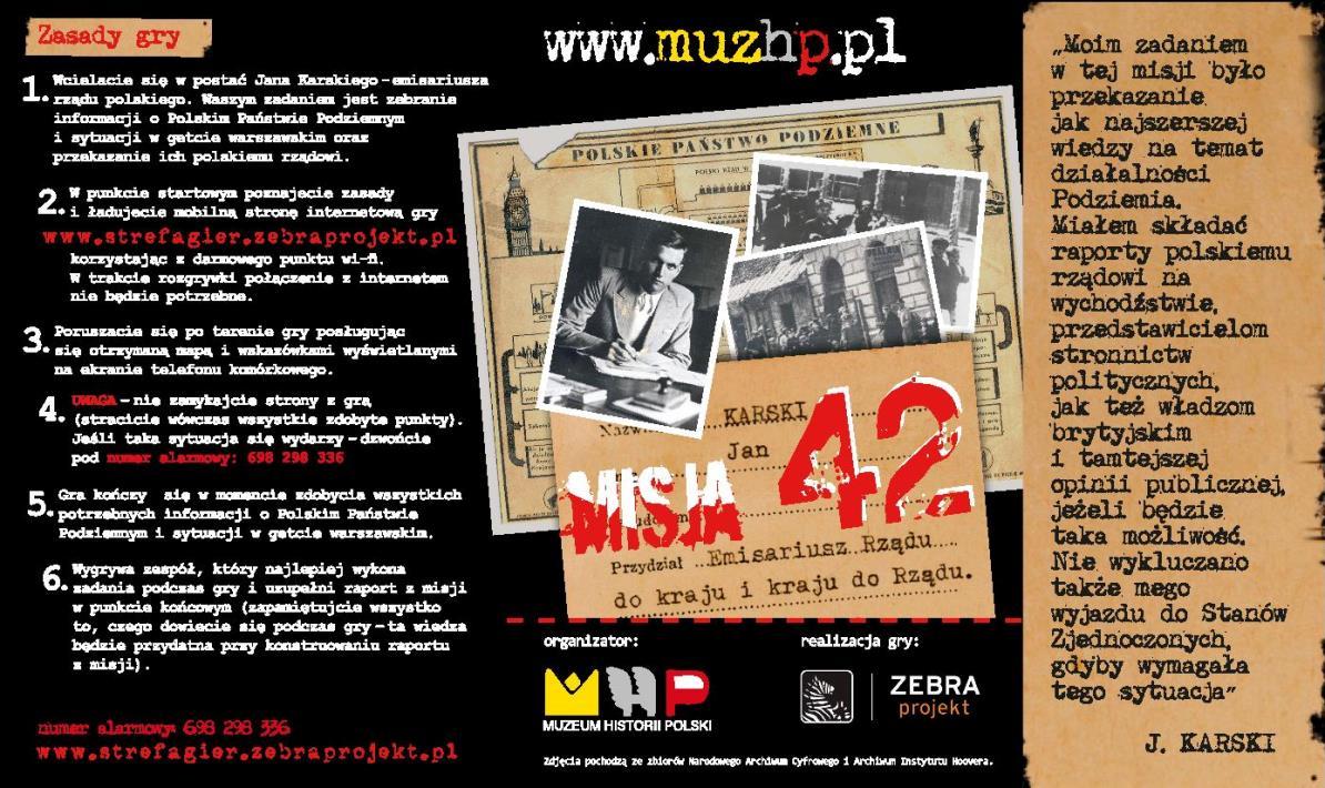 """""""Karski. Misja 1942"""" – karta gry (źródło: materiały prasowe)"""