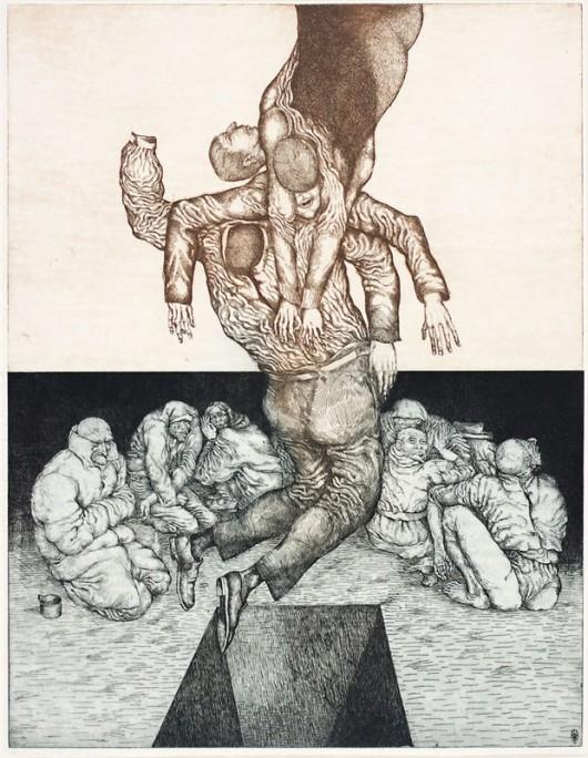 """Leszek Rózga, """"Przenikanie X albo Lewitacja"""", 1970, akwaforta, 64,5x49,5, wł. Miejska Galeria Sztuki w Łodzi, fot. Mariusz Łukawski (źródło: materiały prasowe organizatora)"""