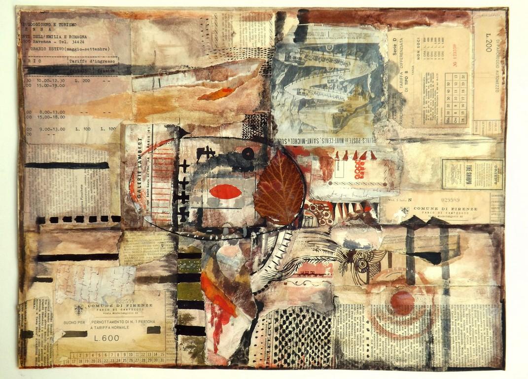 """Krystyna Bunsch-Gruchalska, """"Podróż do Prowansji"""", collage, tempera (źródło: materiały prasowe organizatora)"""