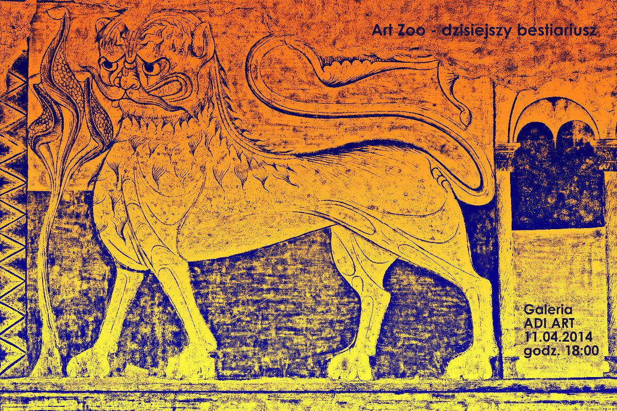 """""""Art Zoo – dzisiejszy bestiariusz"""", Galeria Sztuki AdiArt w Łodzi, plakat wystawy (źródło: materiały prasowe organizatora)"""