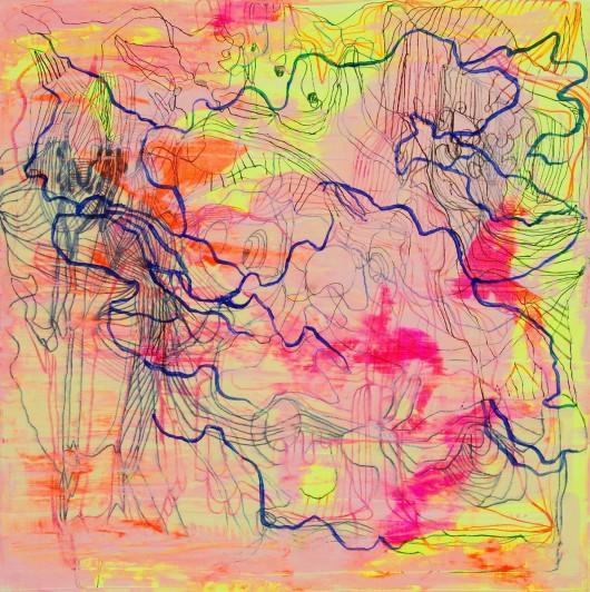 """Gossia Zielaskowska, """"Yellow map"""", 2014, olej, płótno (źródło: materiały prasowe organizatora)"""