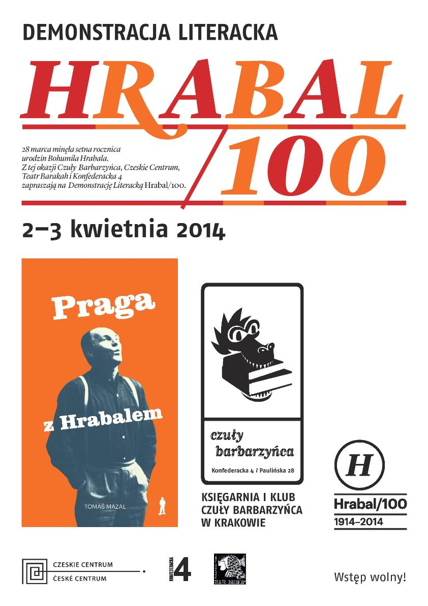 """""""Hrabal/100"""" – plakat (źródło: materiały prasowe)"""