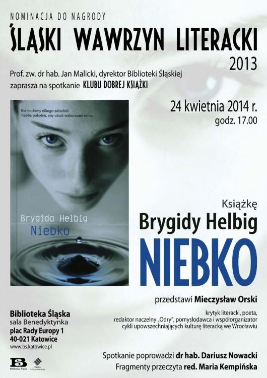 """Klub Dobrej Książki: Brygida Helbig """"Niebko"""" – plakat (źródło: materiały prasowe)"""