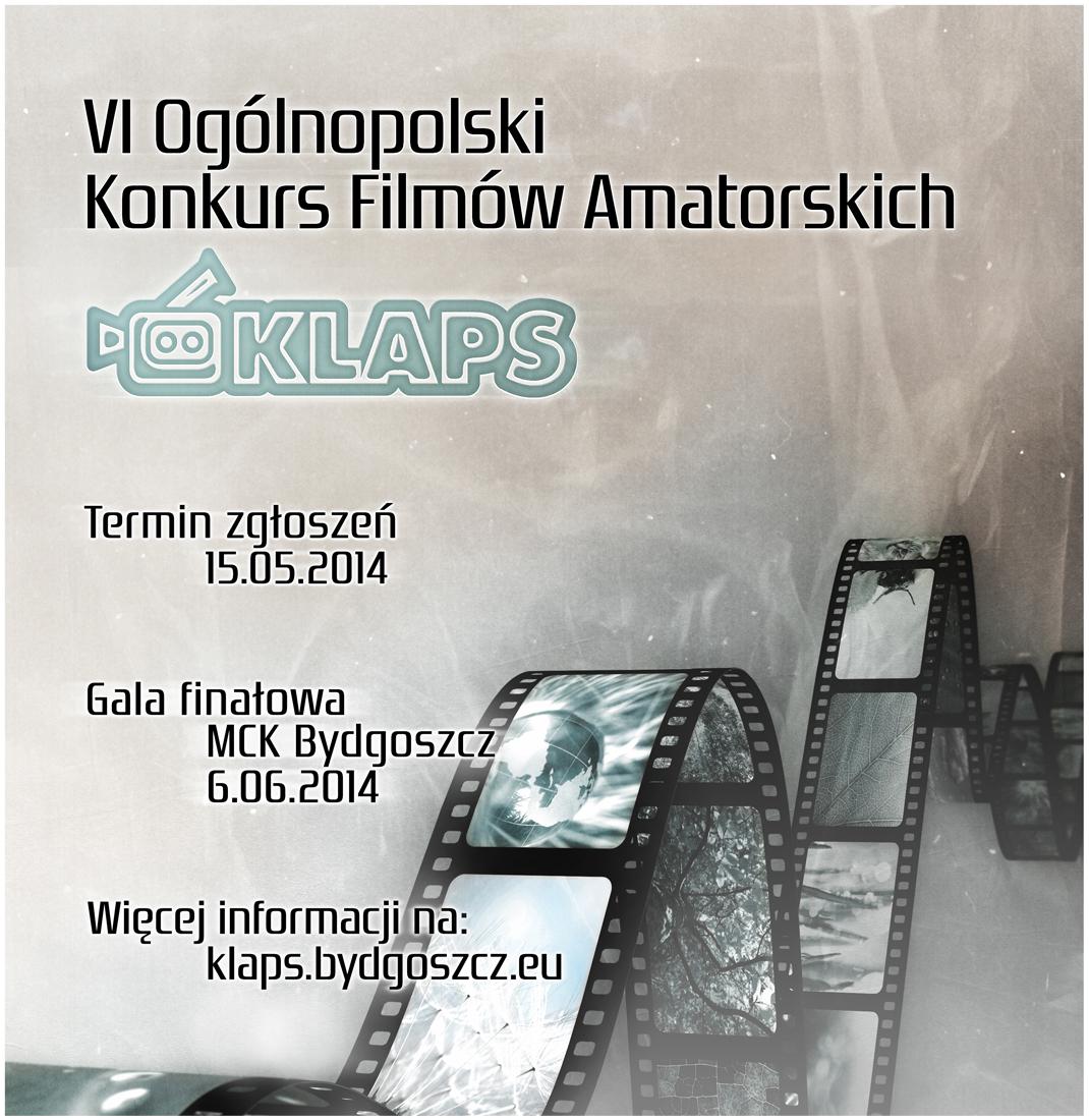 """IV Ogólnopolski Konkurs Filmów Amatorskich """"Klaps"""", plakat (źródło: materiały prasowe)"""