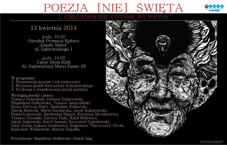"""""""Poezja (nie) święta I. Częstochowskie czytanie wg poetów"""", plakat (źródło: materiały prasowe)"""