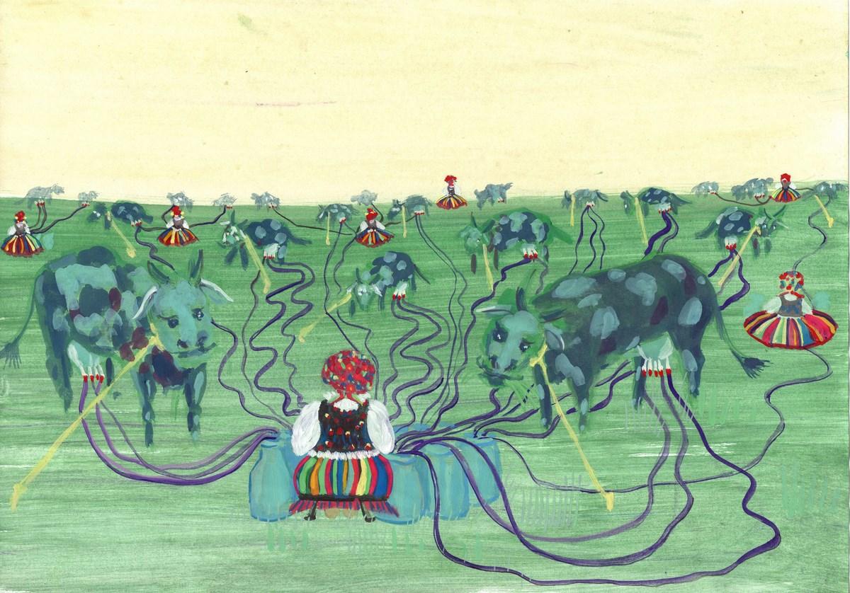 """Alicja Łukasiak, """"Centralizacja"""", 2013, gwasz na papierze (źródło: materiały prasowe organizatora)"""