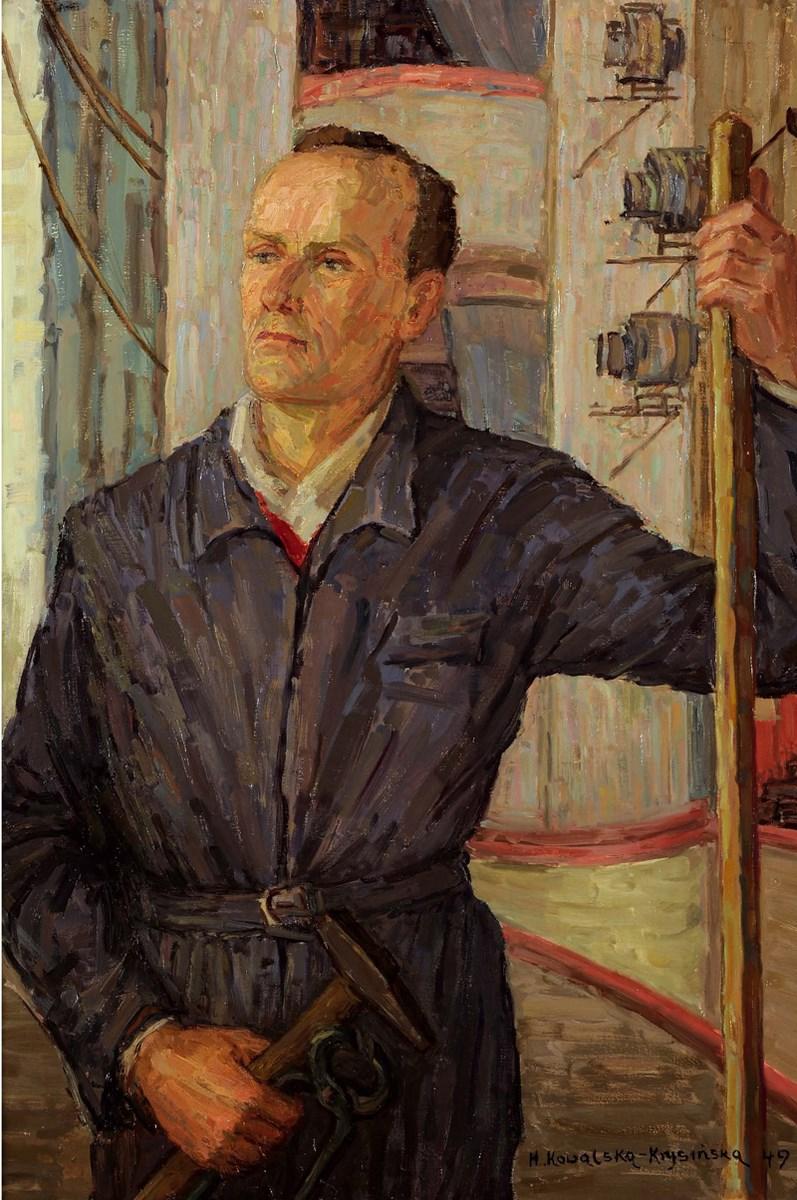"""Halina Kowalska-Krysińska, """"Portret J. Wiktorskiego brygadiera teatralnego"""", 1949 rok (źródło: materiały prasowe organizatora)"""