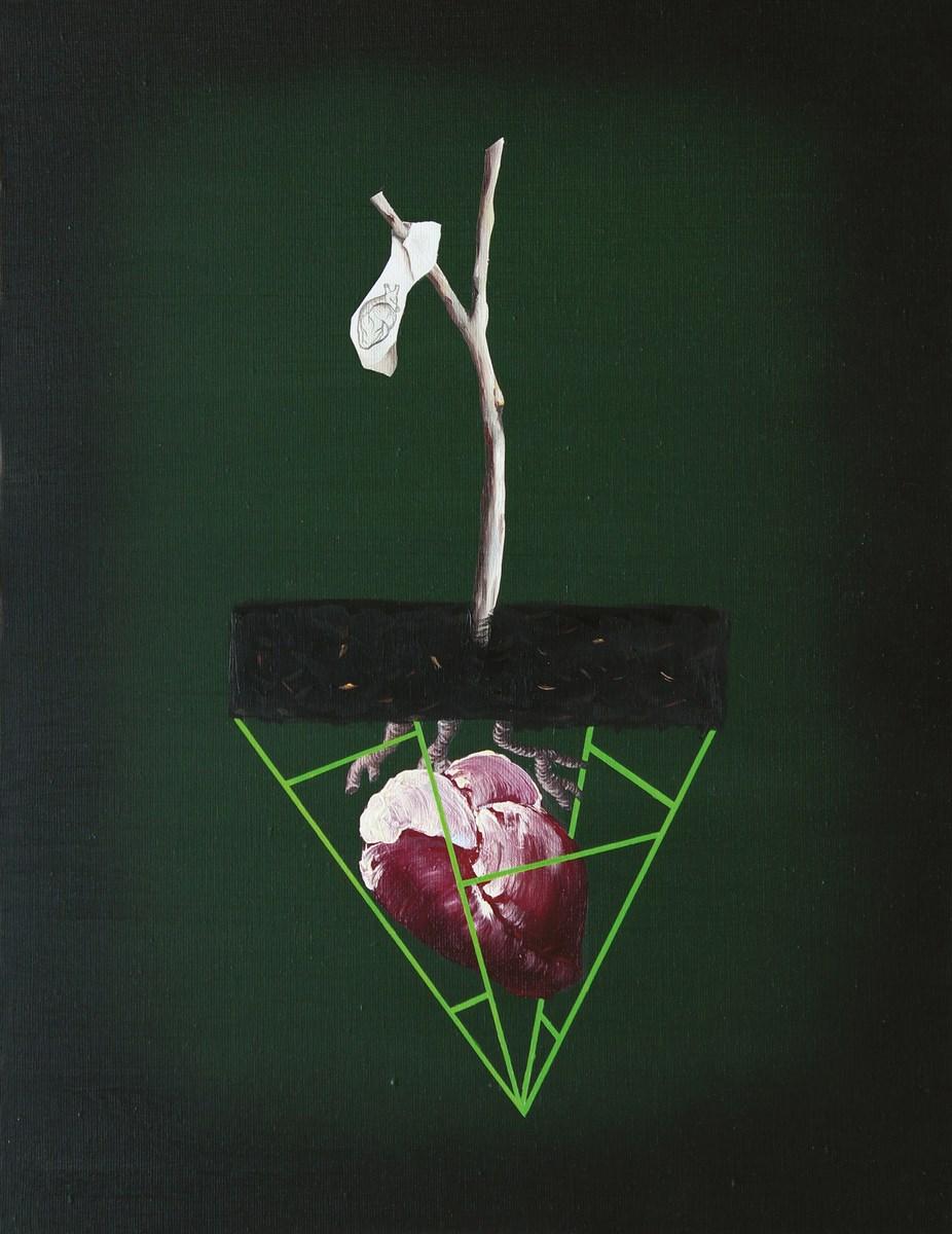 """Joanna Mlącka, """"Engram 2"""", olej na płótnie, 60 x 50 cm, 2014 (źródło: materiały prasowe organizatora)"""