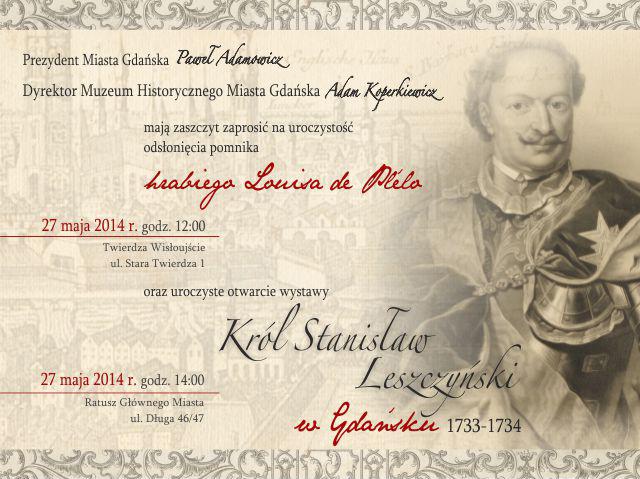 """""""Król Stanisław Leszczyński w Gdańsku 1733−1734"""", zaproszenie (źródło: materiały prasowe)"""