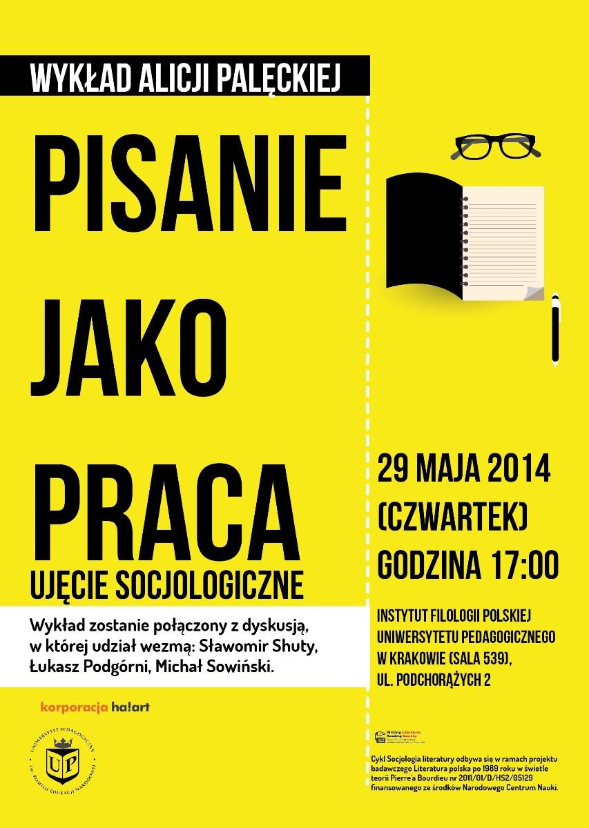 """""""Pisanie jako praca. Ujęcie socjologiczne"""" – plakat (źródło: materiały prasowe)"""