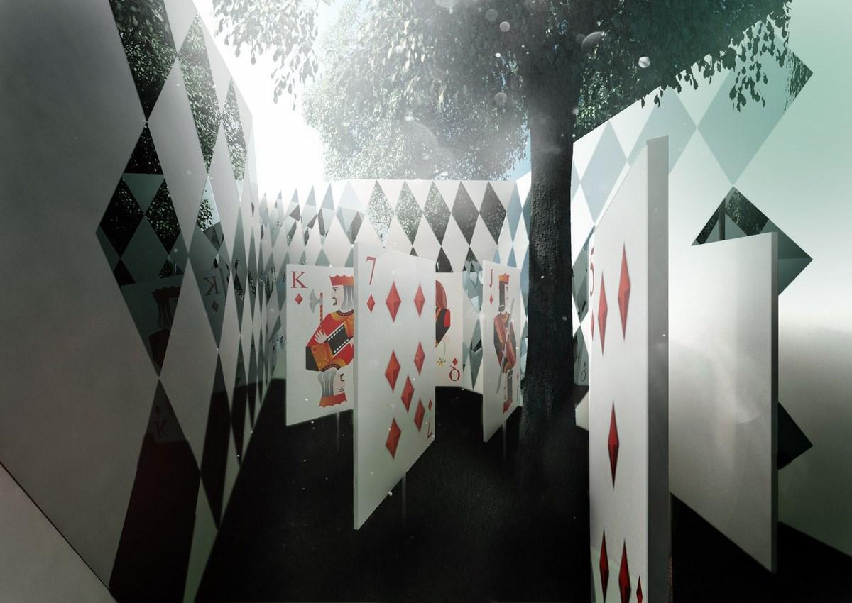 """""""Alicja w Ogrodzie Saskim"""", 2014, wizualizacje Jakub Szczęsny (źródło: materiały prasowe organizatora)"""