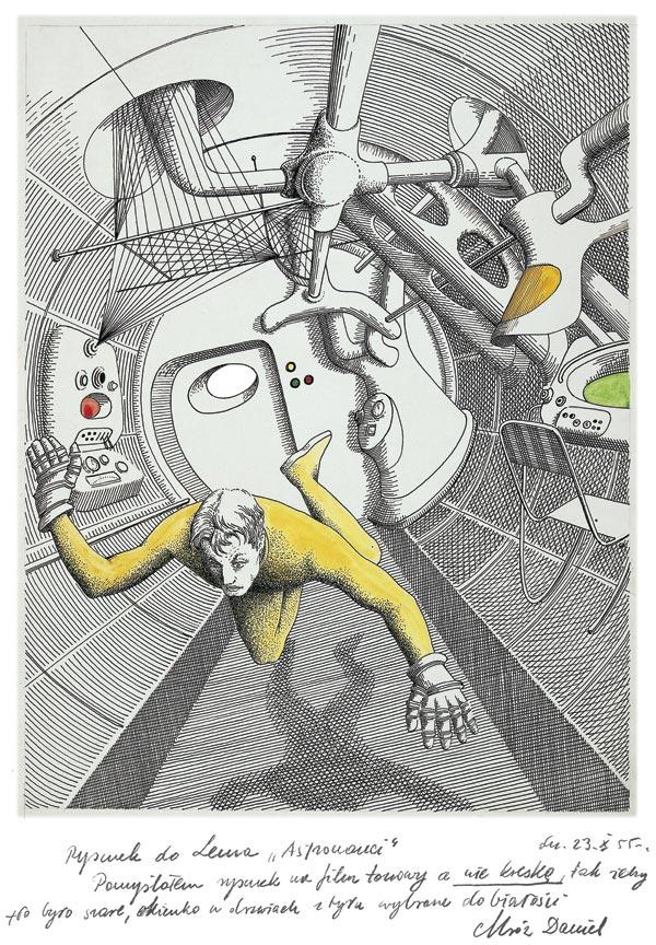 """Daniel Mróz, ilustracja do opowiadania """"Astronauci"""" Stanisława Lema, 1955, dzięki uprzejmości rodziny artysty (źródło: materiały prasowe organizatora)"""